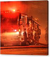 Firemen At Work Canvas Print