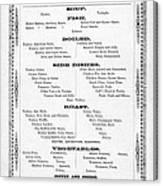 Firemen Dinner Menu - San Francisco - 1856 Canvas Print