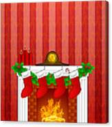Fireplace Christmas Decoration Wth Stockings And Wallpaper Canvas Print