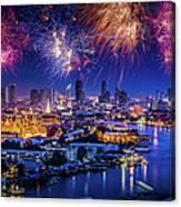 Fireworks Above Bangkok City Canvas Print