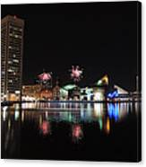 Fireworks Over Downtown Baltimore Canvas Print