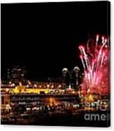 Fireworks Over The Kansas City Plaza Lights Canvas Print