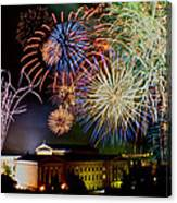 Fireworks Over The Museum Canvas Print