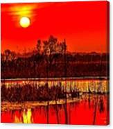 Firey Dawn Over The Marsh Canvas Print