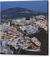 Firostefani At Night Santorini Cyclades Greece  Canvas Print