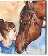 Horse Painting Of Paint Horse And Girl First Kiss Canvas Print