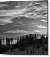 First Light At Cape Cod Beach Bw Canvas Print