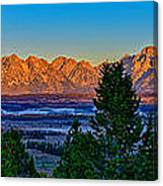 First Light On The Tetons Canvas Print