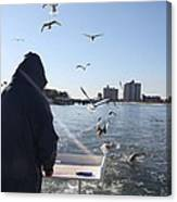 First Mate Filleting With Some Friends Canvas Print
