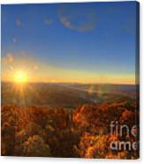 First Morning Light Striking Top Of Trees Canvas Print