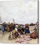 Fish Sale On The Beach  Canvas Print