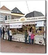 Fish Stall In The Market In Steenwijk Netherlands Canvas Print