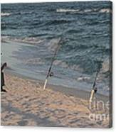 Fisherman At The Beach Canvas Print