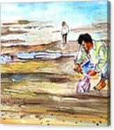 Fisherman On Las Canteras Beach Canvas Print