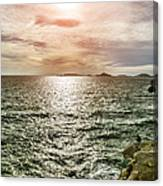 Fisherman On The Cliff At Sunset Canvas Print