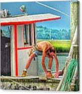Fisherman Working On His Boat Canvas Print