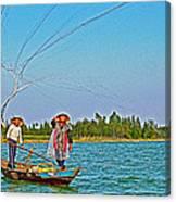 Fishermen Casting A Broad Net On Thu Bon River In Hoi An-vietnam Canvas Print