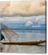 Fishermen In The Inle Lake. Myanmar Canvas Print