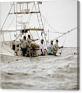 Fishermen Reel In Line From The Back Canvas Print