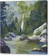 Fishing At The Falls Canvas Print