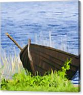 Fishing Boat On The Volga Canvas Print