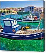 Fishing Boat On Turquoise Sea Canvas Print