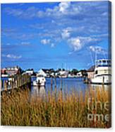 Fishing Boats At Dock Ocracoke Island Canvas Print