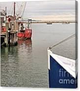 Fishing Boats At Pier Canvas Print