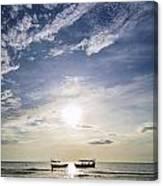 fishing boats at sunset in koh rong Cambodia Canvas Print