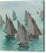 Fishing Boats Calm Sea Canvas Print