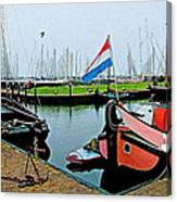 Fishing Boats In Enkhuizen-netherlands Canvas Print
