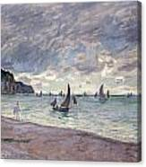 Fishing Boats In Front Of The Beach And Cliffs Of Pourville Canvas Print