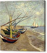 Fishing Boats On The Beach At Les Sainte-maries-de-la-mer Canvas Print