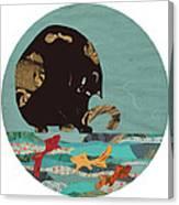 Fishing Cat Black Canvas Print