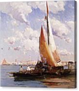 Fishing Craft With The Rivere Degli Schiavoni Venice Canvas Print