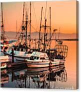 Fishing Fleet Sunset Boat Reflection At Fishermans Wharf Morro Bay California Canvas Print