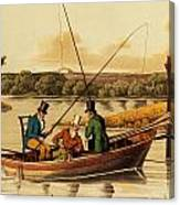 Fishing In A Punt Canvas Print
