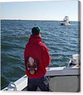 Fishing In Rough Seas Canvas Print