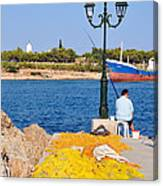 Fishing In Spetses Town Canvas Print