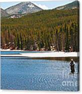 Fishing In Winter Canvas Print
