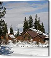 Fishing Lodge In The Winter Canvas Print