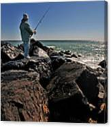 Fishing Off The Jetty Canvas Print