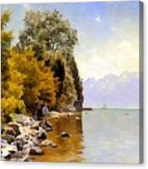 Fishing On Lac Leman Canvas Print