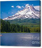 Fishing On Trillium Lake Canvas Print