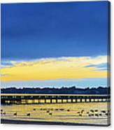 Fishing Pier At Sunset Canvas Print