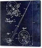 Fishing Reel Patent 1939 Blue Canvas Print