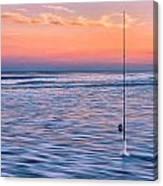 Fishing The Sunset Surf - Horizontal Version Canvas Print