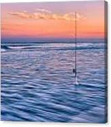 Fishing The Sunset Surf - Square Version Canvas Print