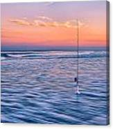 Fishing The Sunset Surf - Vertical Version Canvas Print