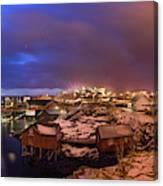 Fishing Village At Night, Lofoten Canvas Print